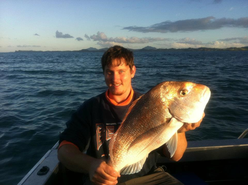Morgan Barnes with a nice snapper taken at Tutukaka